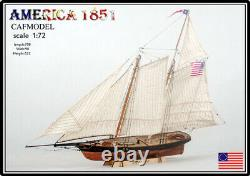 172 27'' America 1851 America Cup 708MM Wooden ship model kit -Unassembly