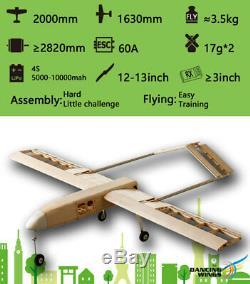 2M Balsa Laser-cutting Airplane KIT RQ-7 RC Wooden Building Model Unassembled