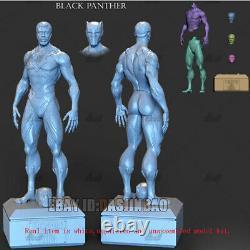 Black Panther Unpainted 1/6 Figure 3D Print Model Kit Unassembled 36cm 2 Heads