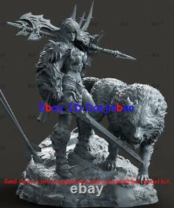 Female Barbarian With Wolf Figure 3D Print Model Kit Unpainted Unassembled 25cm