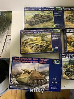 Lot Of 10 Unimodel 1/72 Scale Military Trucks, Tanks, & Armor Lot 2