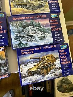 Lot Of 11 Unimodel 1/72 Scale Model Military Tanks Armor Foreign See Desc