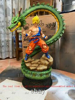 Son Goku With Dragon Unpainted 3D Print Model Kit Unassembled GK H40cm/15.7inch