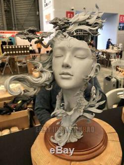 Unpainted 14.7inch Peach Blossom Dragon Girl Resin Figure Model Kit Unassembled