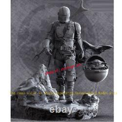 Unpainted 30cm Mandalorian & Baby Yoda Figurine Model Kit 3D Printed Unassembled